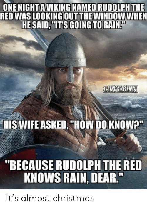 """The Red: ONE NIGHT AVIKING NAMED RUDOLPH THE  RED WAS LOOKING OUT THE WINDOW WHEN  HE SAID, """"IT'S GOING TO RAIN.""""  CAVEMAN  HIS WIFE ASKED, """"HOW DO KNOW?""""  """"BECAUSE RUDOLPH THE RED  KNOWS RAIN, DEAR."""" It's almost christmas"""