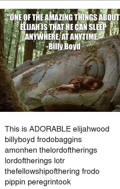Pippin: ONE OF THE AMAZING THINGS ABOUT  , ELUAHTS THAT-HE CAN SLEEP  Bily Bovu This is ADORABLE elijahwood billyboyd frodobaggins amonhen thelordoftherings lordoftherings lotr thefellowshipofthering frodo pippin peregrintook