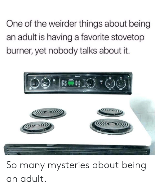 Being an Adult, One, and Adult: One of the weirder things about being  an adult is having a favorite stovetop  burner, yet nobody talks about it. So many mysteries about being an adult.
