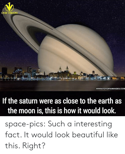 the moon: ONE VISION  www.FOTOPIAIMAGES.COM  If the saturn were as close to the earth as  the moon is, this is how it would look. space-pics:  Such a interesting fact. It would look beautiful like this. Right?