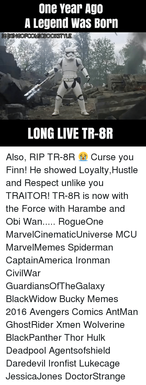 Memes 2016: One Year Ago  A Legend Was Born  IGO  KINGOFCOMMICBOOKSTNY  LONG LIVE TR-8R Also, RIP TR-8R 😭 Curse you Finn! He showed Loyalty,Hustle and Respect unlike you TRAITOR! TR-8R is now with the Force with Harambe and Obi Wan..... RogueOne MarvelCinematicUniverse MCU MarvelMemes Spiderman CaptainAmerica Ironman CivilWar GuardiansOfTheGalaxy BlackWidow Bucky Memes 2016 Avengers Comics AntMan GhostRider Xmen Wolverine BlackPanther Thor Hulk Deadpool Agentsofshield Daredevil Ironfist Lukecage JessicaJones DoctorStrange