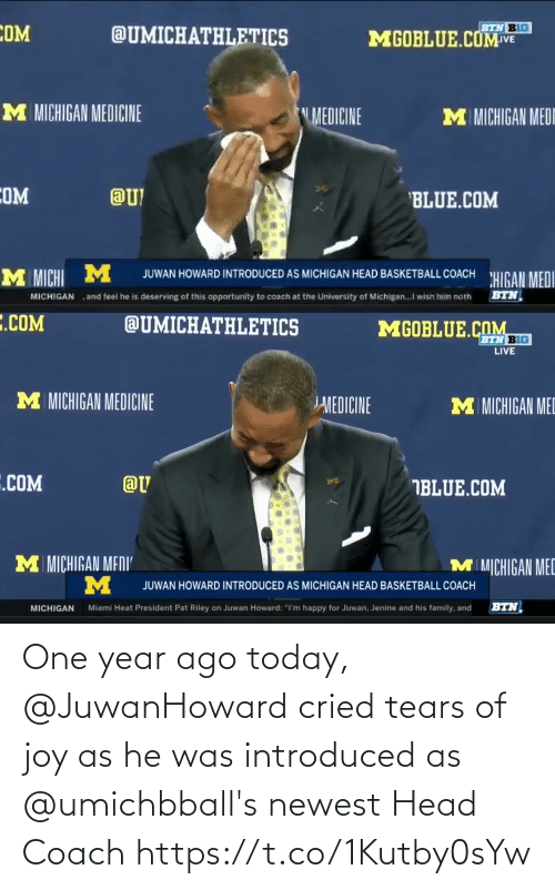 He Was: One year ago today, @JuwanHoward cried tears of joy as he was introduced as @umichbball's newest Head Coach https://t.co/1Kutby0sYw