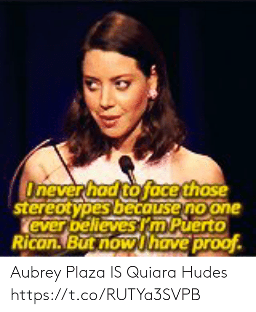 puerto rican: Onever had to face those  stereotypes becouse no one  ever bellevesrm Puerto  Rican.But now Uhave proof Aubrey Plaza IS Quiara Hudes https://t.co/RUTYa3SVPB