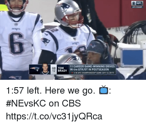 AFC Championship Game, Memes, and Tom Brady: ONFL  AFC CHAMP  QB  12  TOM  BRADY  11 CAREER GAME-WINNING DRIVES  İN 4TH QTR/OT IN POSTSEASON  2 IN AFC CHAMPIONSHIP GAME 12011&2017) 1:57 left.  Here we go.   📺: #NEvsKC on CBS https://t.co/vc31jyQRca