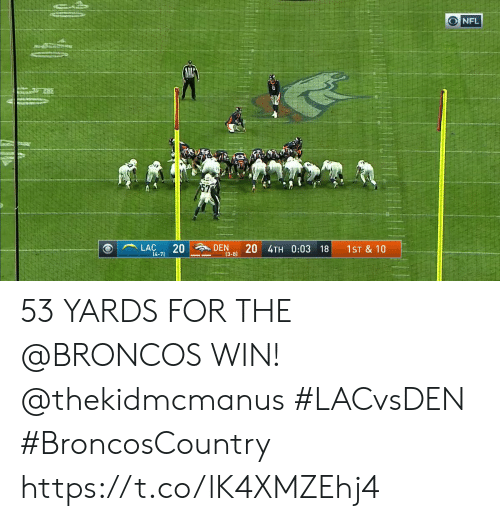 Memes, Broncos, and 🤖: ONFL  MEN  20  DEN  (3-8)  LAC  4TH 0:03 18  1ST & 10  14-7)  20 53 YARDS FOR THE @BRONCOS WIN! @thekidmcmanus #LACvsDEN #BroncosCountry https://t.co/lK4XMZEhj4