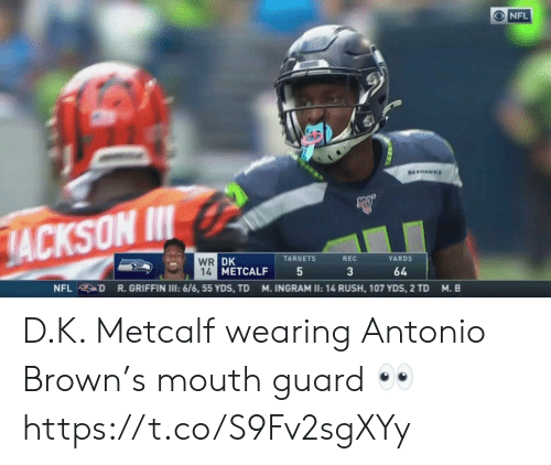 ingram: ONFL  SEAHAWHS  JACKSON I  WR DK  14 METCALF  TARGETS  REC  YARDS  3  64  R.GRIFFIN I: 6/6, 55 YDS, TD  NFL D  M. INGRAM II: 14 RUSH, 107 YDS, 2 TD  M. B D.K. Metcalf wearing Antonio Brown's mouth guard 👀 https://t.co/S9Fv2sgXYy