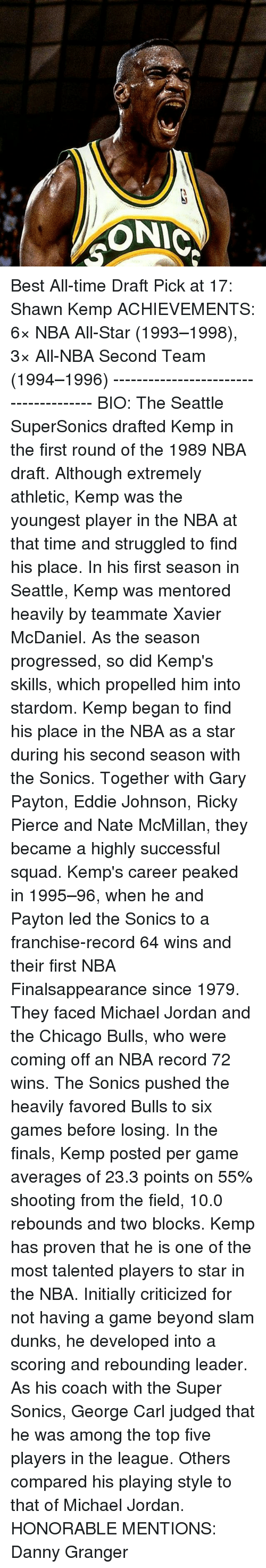 nba all stars: ONIC Best All-time Draft Pick at 17: Shawn Kemp ACHIEVEMENTS: 6× NBA All-Star (1993–1998), 3× All-NBA Second Team (1994–1996) -------------------------------------- BIO: The Seattle SuperSonics drafted Kemp in the first round of the 1989 NBA draft. Although extremely athletic, Kemp was the youngest player in the NBA at that time and struggled to find his place. In his first season in Seattle, Kemp was mentored heavily by teammate Xavier McDaniel. As the season progressed, so did Kemp's skills, which propelled him into stardom. Kemp began to find his place in the NBA as a star during his second season with the Sonics. Together with Gary Payton, Eddie Johnson, Ricky Pierce and Nate McMillan, they became a highly successful squad. Kemp's career peaked in 1995–96, when he and Payton led the Sonics to a franchise-record 64 wins and their first NBA Finalsappearance since 1979. They faced Michael Jordan and the Chicago Bulls, who were coming off an NBA record 72 wins. The Sonics pushed the heavily favored Bulls to six games before losing. In the finals, Kemp posted per game averages of 23.3 points on 55% shooting from the field, 10.0 rebounds and two blocks. Kemp has proven that he is one of the most talented players to star in the NBA. Initially criticized for not having a game beyond slam dunks, he developed into a scoring and rebounding leader. As his coach with the Super Sonics, George Carl judged that he was among the top five players in the league. Others compared his playing style to that of Michael Jordan. HONORABLE MENTIONS: Danny Granger