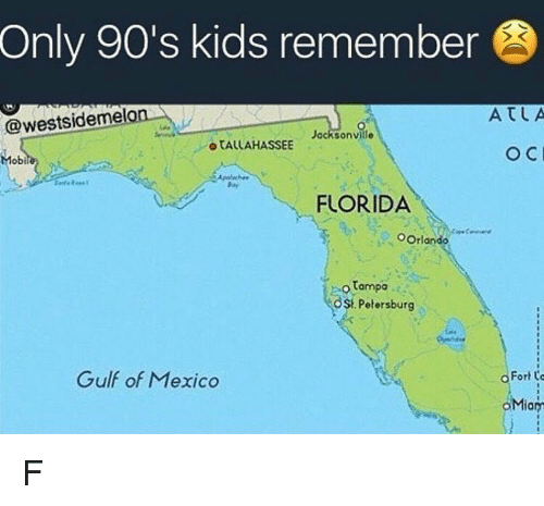 Jacksonville: Only 90's kids remember  X K  ATLA  @westsideme  Jacksonville  o TALLAHASSEE  Mobi  FLORIDA  OOrlando  tampa  OSt Petersburg  Gulf of Mexico  o Fort o  。Miary F
