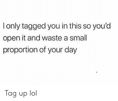 Funny, Lol, and Tagged: only tagged you in this so you'd  open it and waste a small  proportion of your day Tag up lol