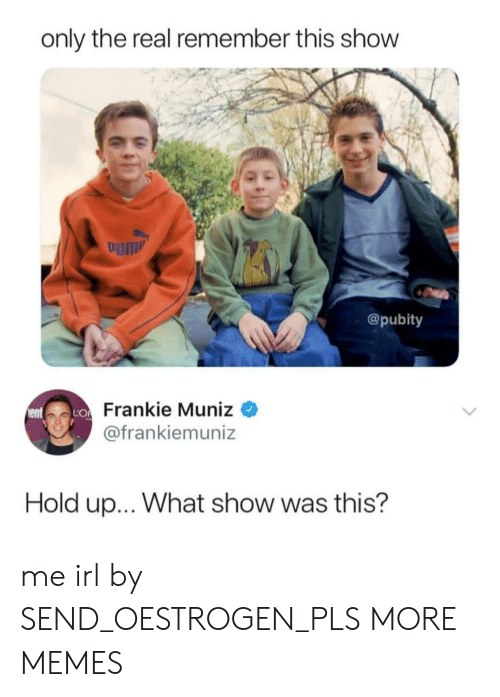 Dank, Memes, and Target: only the real remember this show  um  @pubity  Frankie Muniz  @frankiemuniz  Hold up... What show was this? me irl by SEND_OESTROGEN_PLS MORE MEMES