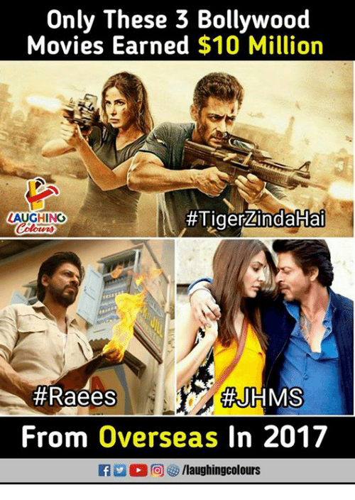 Bollywood: Only These 3 Bollywood  Movies Earned $10 Million  #Tiger-indakiai  LAUGHINO  #Raees  #JHMS  From Overseas In 2017  fyaughingcolours
