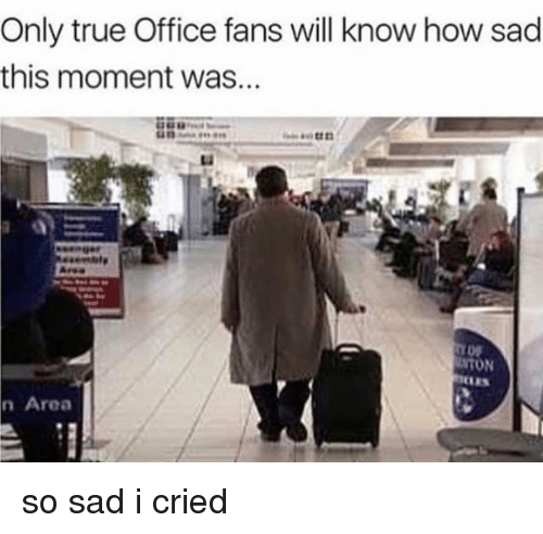 Memes, True, and Office: Only true Office fans will know how sad  this moment was...  Li  UNTON  n Area so sad i cried