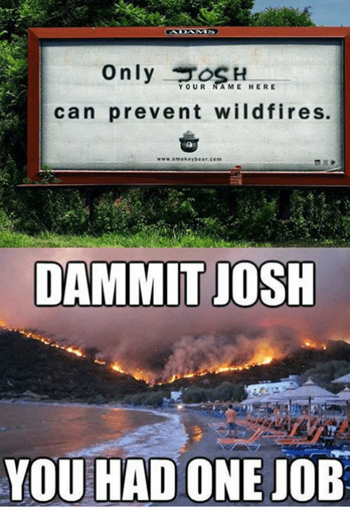 Joshing You: only  YOUR AME HERE  can prevent wildfires.  www Smokey tear com  DAMMIT JOSH  YOU HAD ONE JOB