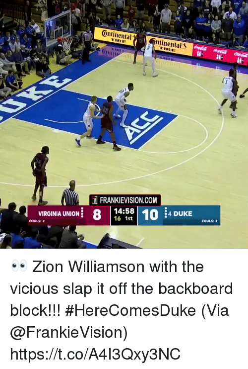 Vicious: ontinental  ntinental  LTIRE  (0111 ,  Oni  13  FRANKIEVISION.COM  8 |  14:58 10 4 DUKE  58| 10:4 DUKE  FOULS:  VIRGINIA UNION .  FOULS: 2 👀 Zion Williamson with the vicious slap it off the backboard block!!! #HereComesDuke   (Via @FrankieVision)    https://t.co/A4I3Qxy3NC