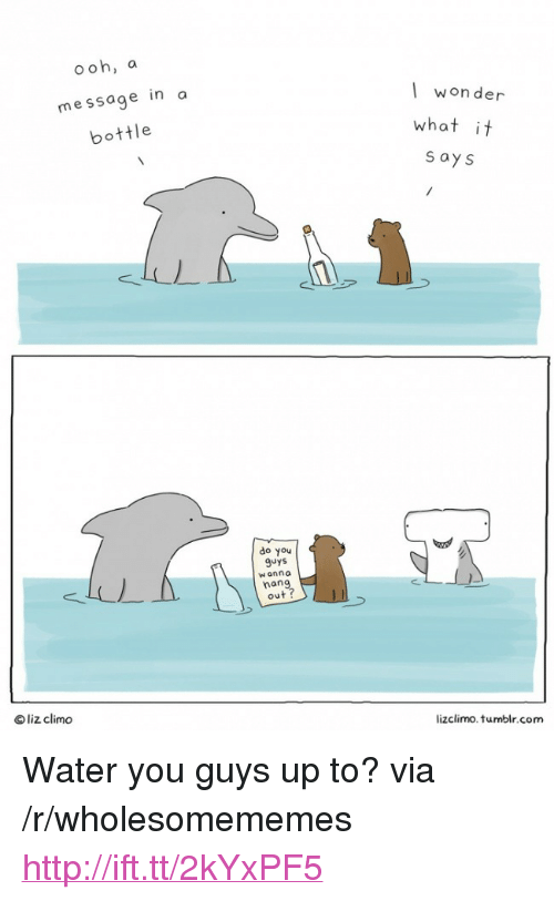 """message in a bottle: ooh, a  message in a  bottle  won der  what it  s ays  do you  9uys  w anna  nan  out ?  © liz clim。  lizclimo. tumblr.com <p>Water you guys up to? via /r/wholesomememes <a href=""""http://ift.tt/2kYxPF5"""">http://ift.tt/2kYxPF5</a></p>"""