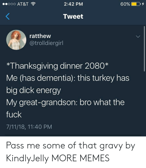 7/11, Big Dick, and Dank: ooo AT&T  2:42 PM  60%  Tweet  ratthew  @trolldiergirl  *Thanksgiving dinner 2080*  Me (has dementia): this turkey has  big dick energy  My great-grandson: bro what the  fuck  7/11/18, 11:40 PM Pass me some of that gravy by KindlyJelly MORE MEMES
