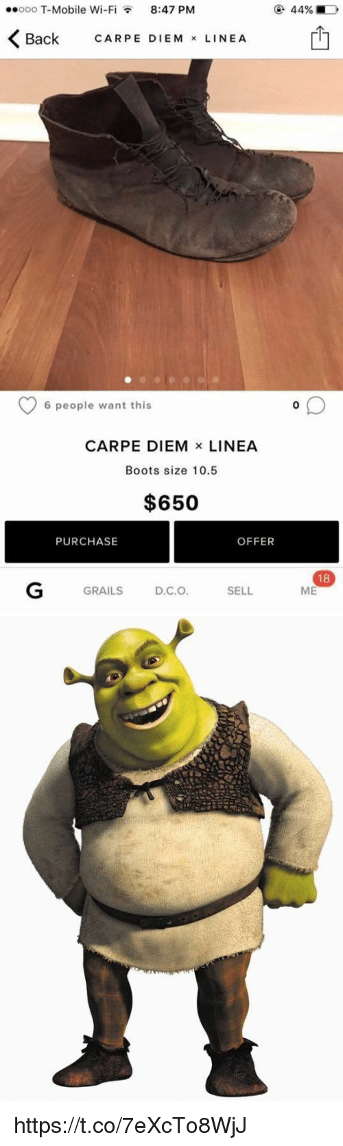Carpe Diem: ..ooo T-Mobile Wi-F  8:47 PM  K Back CARPE M  x LINE A  EDIE 6 people want this  CARPE DIEM  x LINEA  Boots size 10.5  $650  OFFER  PURCHASE  GRAILS  D.C.O  SELL  180  ME https://t.co/7eXcTo8WjJ