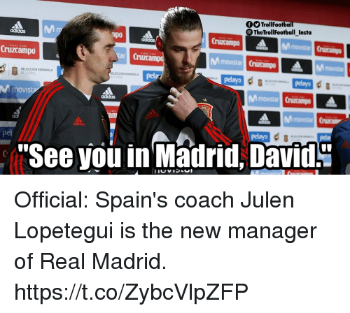 Memes, Real Madrid, and 🤖: OOTrollFootba  The TrollFootball Insta  Mm  Cruzcampo  SELECCION ESPANOLA  ELECCION ESPANOLA  movist  pel  See you in Madrid, David. Official: Spain's coach Julen Lopetegui is the new manager of Real Madrid. https://t.co/ZybcVlpZFP