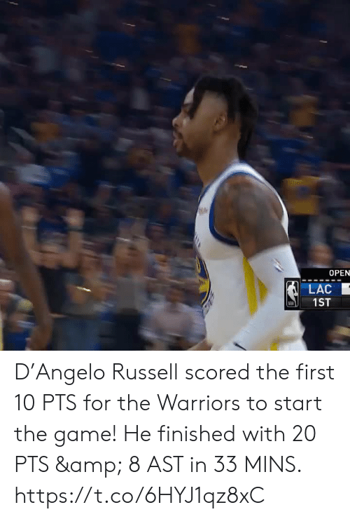 the warriors: OPEN  LAC  1ST D'Angelo Russell scored the first 10 PTS for the Warriors to start the game!  He finished with 20 PTS & 8 AST in 33 MINS.    https://t.co/6HYJ1qz8xC