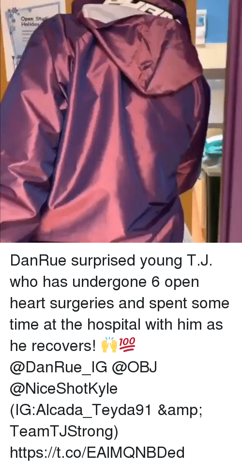 Heart, Hospital, and Time: Open St  Holidav DanRue surprised young T.J. who has undergone 6 open heart surgeries and spent some time at the hospital with him as he recovers! 🙌💯 @DanRue_IG @OBJ @NiceShotKyle (IG:Alcada_Teyda91 & TeamTJStrong) https://t.co/EAlMQNBDed