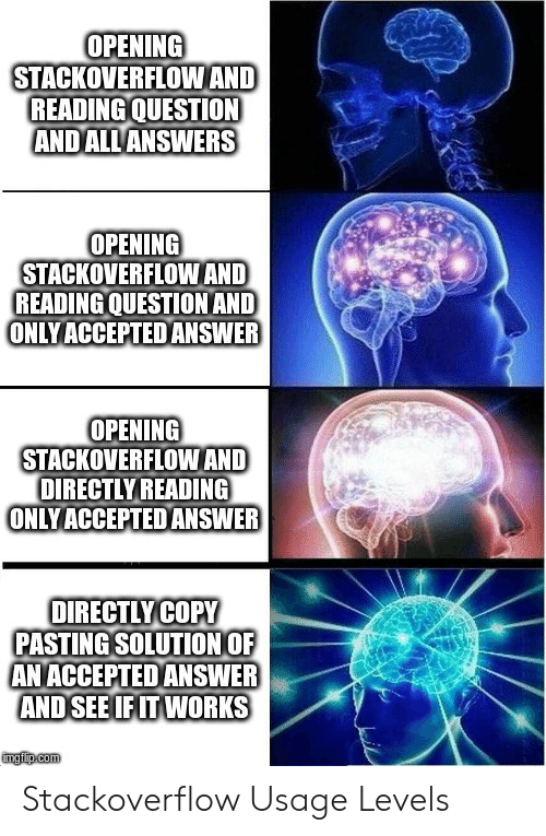 Accepted, Answers, and Answer: OPENING  STACKOVERFLOWAND  READING QUESTION  ANDALL ANSWERS  OPENING  STACKOVERFLOWAND  READING QUESTION AND  ONLYACCEPTED ANSWER  OPENING  STACKOVERFLOWAND  DIRECTLY READING  ONLYACCEPTEDANSWER  OIRECTLYCOPY  PASTING SOLUTION OF  AN ACCEPTED ANSWER  AND SEE IF IT WORKS  mgiip.com Stackoverflow Usage Levels