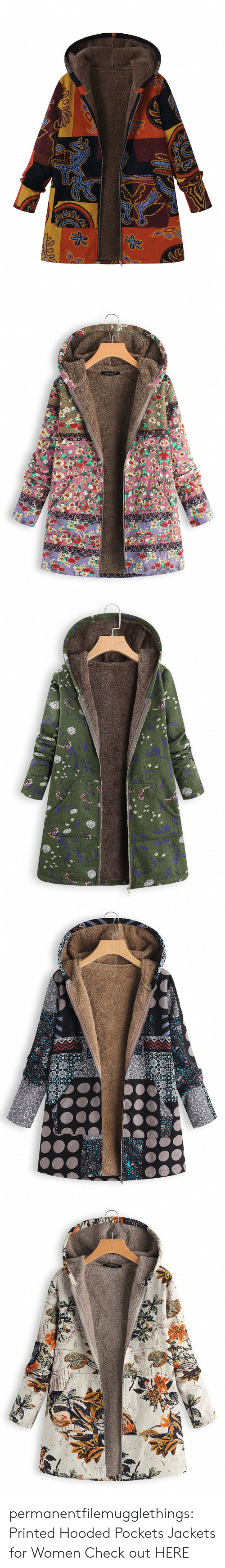 Tumblr, Blog, and Women: Opoo   GRACILA   w  וadll  -ו3 y permanentfilemugglethings:  Printed Hooded Pockets Jackets for Women Check out HERE
