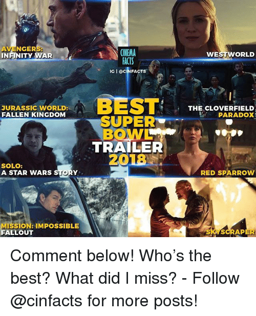 cloverfield: or  AVENGERS  INFINITY WAR  CINEMA  ACTS  IG I @CINFACTS  WE  ORLD  汀  JURASSIC WORLD:  FALLEN KINGDOM  WoRLoBEST  THE CLOVERFIELD  PARADOX  SUPER  BOWL  TRAILER  18  20  SOLO:  A STAR WARS STORY  RED SPARROW  MISSION: IMPOSSIBLE  FALLOUT  SCRAP Comment below! Who's the best? What did I miss? - Follow @cinfacts for more posts!