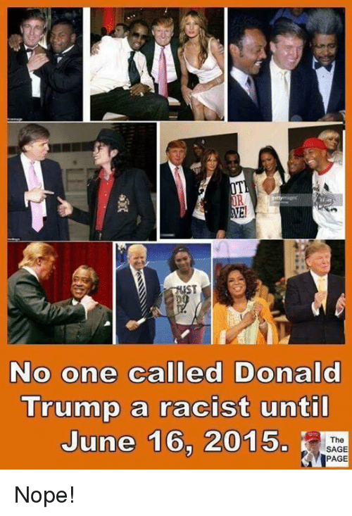 Sage: OR  ST  No one called Donald  Trump a racist unti  June 16, 2015.  The  SAGE  PAGE Nope!