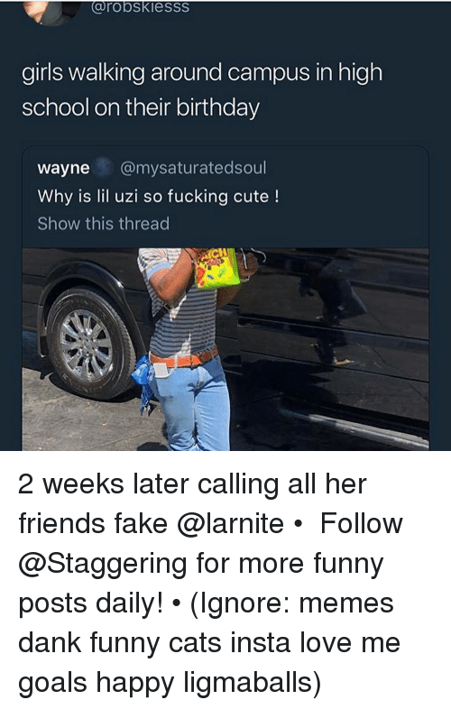 Birthday, Cats, and Cute: OroOSKIesss  girls walking around campus in high  school on their birthday  wayne @mysaturatedsoul  Why is lil uzi so fucking cute!  Show this thread 2 weeks later calling all her friends fake @larnite • ➫➫➫ Follow @Staggering for more funny posts daily! • (Ignore: memes dank funny cats insta love me goals happy ligmaballs)