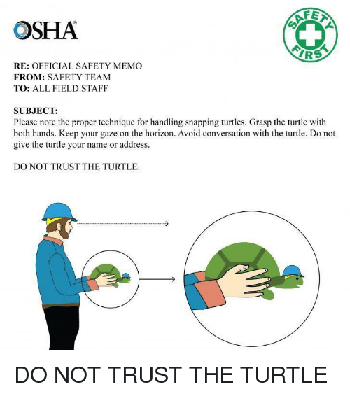 Af, Irs, and Turtle: OSHA  AF  IRS  RE: OFFICIAL SAFETY MEMO  FROM: SAFETY TEAM  TO: ALL FIELD STAFF  SUBJECT:  Please note the proper technique for handling snapping turtles. Grasp the turtle with  both hands. Keep your gaze on the horizon. Avoid conversation with the turtle. Do not  give the turtle your name or address.  DO NOT TRUST THE TURTLE DO NOT TRUST THE TURTLE