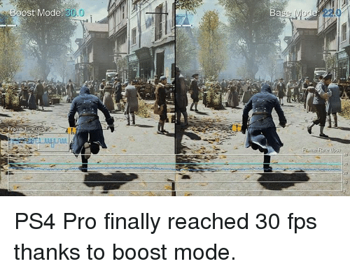 mog: ost Mode 30.0  Case MOG  ps)  Frame rate PS4 Pro finally reached 30 fps thanks to boost mode.
