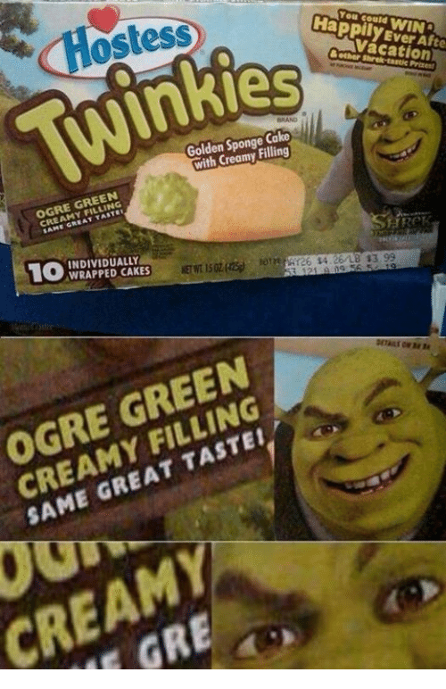 Memes, 🤖, and Gre: Ostess  HappilyEverAfte  idAva cation  WINS  & other shrek-taste Priene  Golden Sponge,Cake  with Creamy,Filling  OGRE GREEN  CREAMY FILLING  10 WRAPPEDCAKES  NETWT 15ozinsi.. emerges s4 26/LB43 99  ETNT 15OZ㈣ eTnmr26tS4 26/LB $3.99  OGRE GREEN  CREAMY FILLING  SAME GREAT TASTE!  CREAM  GRE  S