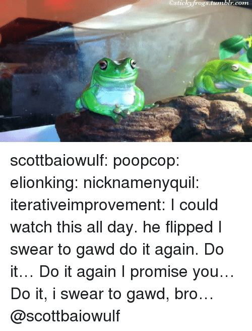 Gawd: Ostickyfrogs.tumblr.com scottbaiowulf: poopcop:  elionking:  nicknamenyquil:  iterativeimprovement:  I could watch this all day.  he flipped  I swear to gawd do it again. Do it… Do it again I promise you… Do it, i swear to gawd, bro…  @scottbaiowulf