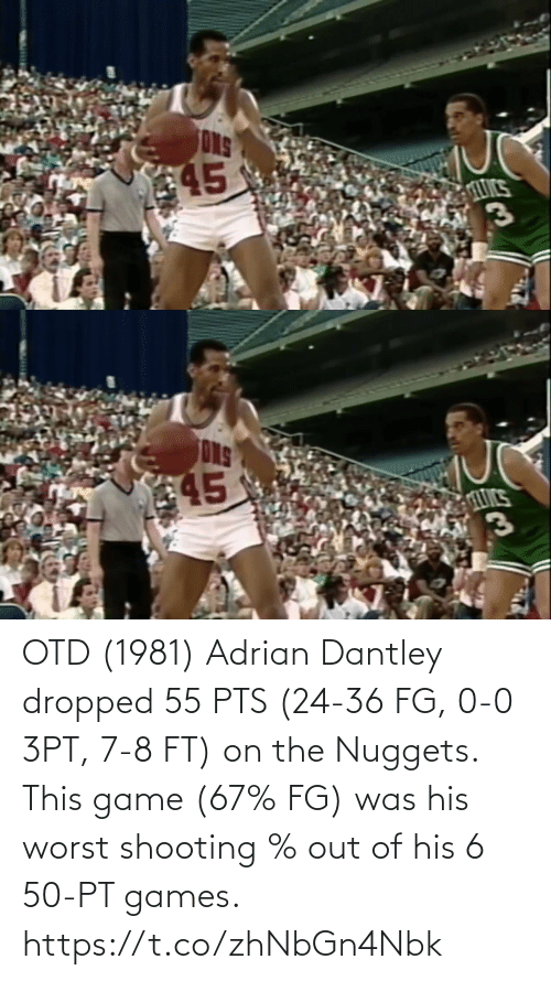 adrian: OTD (1981) Adrian Dantley dropped 55 PTS (24-36 FG, 0-0 3PT, 7-8 FT) on the Nuggets.   This game (67% FG) was his worst shooting % out of his 6 50-PT games.    https://t.co/zhNbGn4Nbk