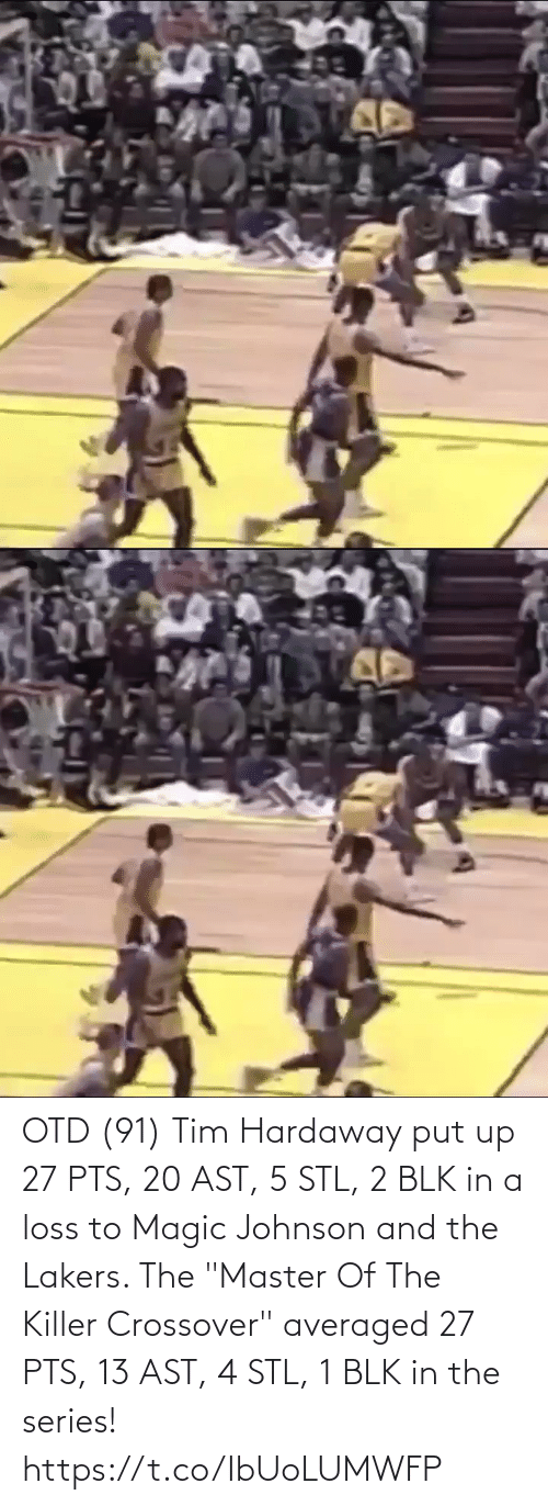 """crossover: OTD (91) Tim Hardaway put up 27 PTS, 20 AST, 5 STL, 2 BLK in a loss to Magic Johnson and the Lakers.   The """"Master Of The Killer Crossover"""" averaged 27 PTS, 13 AST, 4 STL, 1 BLK in the series! https://t.co/IbUoLUMWFP"""