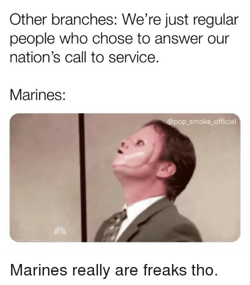 Marines: Other branches: We're just regular  people who chose to answer our  nation's call to service.  Marines:  pop smoke_official Marines really are freaks tho.