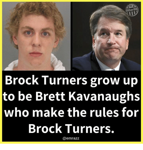 Brock, Who, and Grow: Other98  Brock Turners grow up  to be Brett Kavanaughs  who make the rules for  Brock Turners.  @emrazz