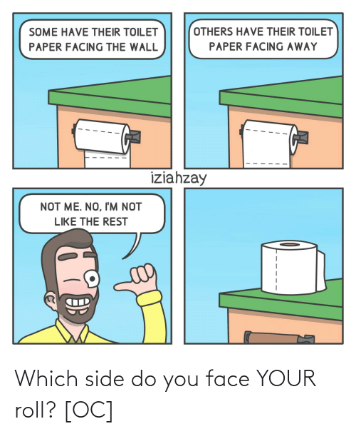 others: OTHERS HAVE THEIR TOILET  SOME HAVE THEIR TOILET  PAPER FACING AWAY  PAPER FACING THE WALL  iziahzay  NOT ME. NO, I'M NOT  LIKE THE REST Which side do you face YOUR roll? [OC]