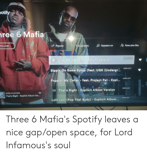 Otify Ree 6 Mafia Fans Also Like S Appears O Discography
