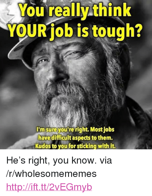 """Http, Jobs, and Tough: ou really.think  YOUR job is tough?  msure youre right. Most jobs  have difficult aspects to them.  Kudos to you for sticking with it. <p>He's right, you know. via /r/wholesomememes <a href=""""http://ift.tt/2vEGmyb"""">http://ift.tt/2vEGmyb</a></p>"""