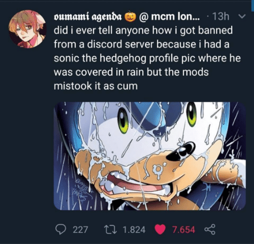 Sonic: oumami agenda O @ mcm lon... · 13h  did i ever tell anyone how i got banned  from a discord server because i had a  sonic the hedgehog profile pic where he  was covered in rain but the mods  mistook it as cum  27 1.824  227  7.654