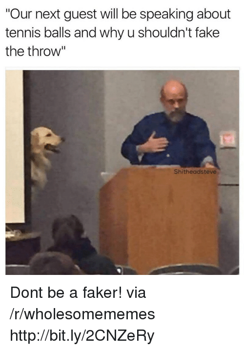 """Fake, Http, and Quest: """"Our next quest will be speaking about  tennis balls and why u shouldn't fake  the throw'""""  Shitheadsteve Dont be a faker! via /r/wholesomememes http://bit.ly/2CNZeRy"""