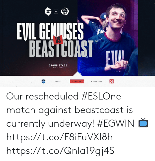 currently: Our rescheduled #ESLOne match against beastcoast is currently underway! #EGWIN  📺  https://t.co/F8iFuVXI8h https://t.co/QnIa19gj4S
