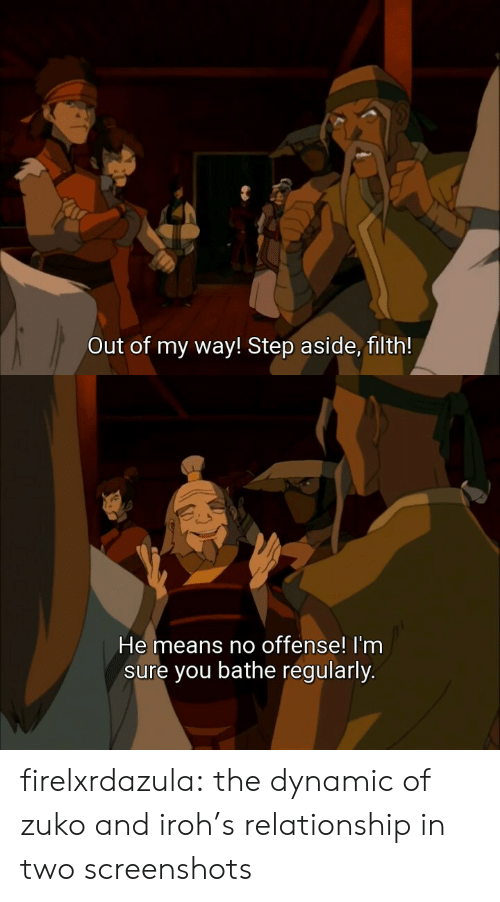 zuko: Out of my way! Step aside, filth!   He means no offense! I'nm  sure you bathe regularly. firelxrdazula:  the dynamic of zuko and iroh's relationship in two screenshots
