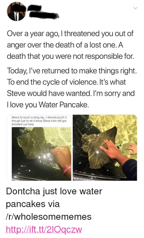 """Love, Shooters, and Sorry: Over a year ago, I threatened you out of  anger over the death of a lost one. A  death that you were not responsible for.  Today, I've returned to make things right.  To end the cycle of violence. It's what  Steve would have wanted. I'm sorry and  I love you Water Pancake  About to touch a sting ray...l should punch it  though just to let it know Steve Irwin still got  shooters out here.  PETT  ME <p>Dontcha just love water pancakes via /r/wholesomememes <a href=""""http://ift.tt/2lOqczw"""">http://ift.tt/2lOqczw</a></p>"""