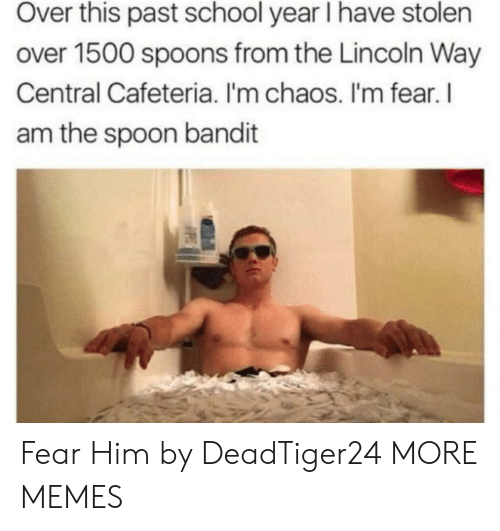 cafeteria: Over this past school year I have stolen  over 1500 spoons from the Lincoln Way  Central Cafeteria. I'm chaos. I'm fear. l  am the spoon bandit Fear Him by DeadTiger24 MORE MEMES