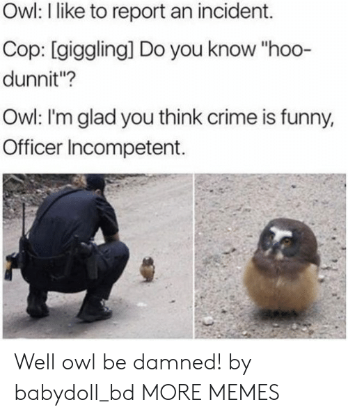"""Be Damned: Owl: I like to report an incident.  Cop: [giggling] Do you know """"hoo-  dunnit""""?  Owl: I'm glad you think crime is funny,  Officer Incompetent. Well owl be damned! by babydoll_bd MORE MEMES"""