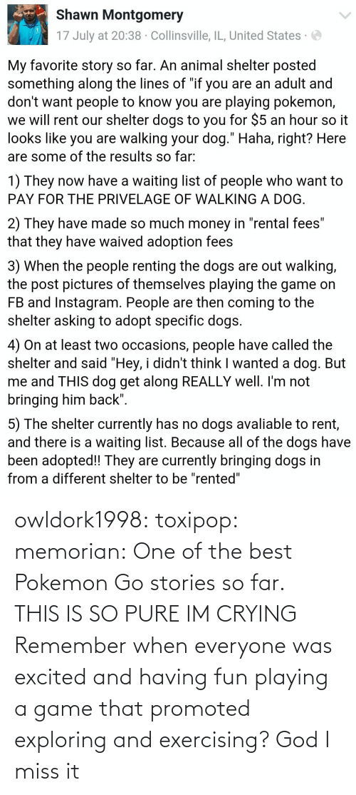 A Game: owldork1998:  toxipop:  memorian:  One of the best Pokemon Go stories so far.   THIS IS SO PURE IM CRYING    Remember when everyone was excited and having fun playing a game that promoted exploring and exercising? God I miss it