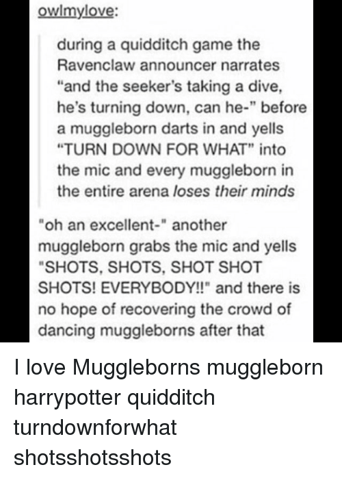"""Quidditch: owlmylove:  during a quidditch game the  Ravenclaw announcer narrates  """"and the seeker's taking a dive,  he's turning down, can he-"""" before  a muggleborn darts in and yells  """"TURN DOWN FOR WHAT"""" into  the mic and every muggleborn in  the entire arena loses their minds  oh an excellent-"""" another  muggleborn grabs the mic and yells  SHOTS, SHOTS, SHOT SHOT  SHOTS! EVERYBODY!!"""" and there is  no hope of recovering the crowd of  dancing muggleborns after that I love Muggleborns muggleborn harrypotter quidditch turndownforwhat shotsshotsshots"""