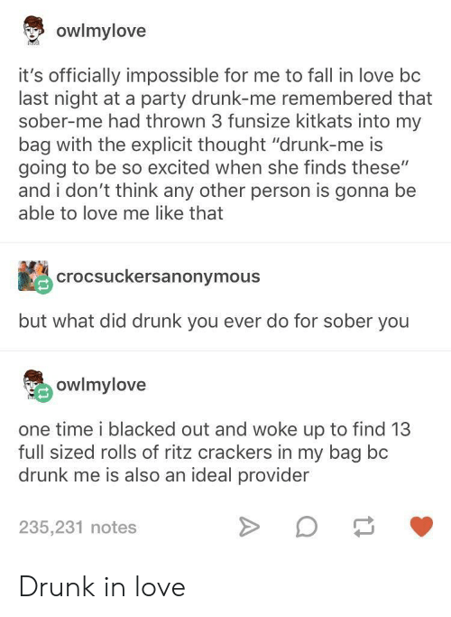 """Drunk, Fall, and Love: owlmylove  it's officially impossible for me to fall in love bc  last night at a party drunk-me remembered that  sober-me had thrown 3 funsize kitkats into my  bag with the explicit thought """"drunk-me is  going to be so excited when she finds these""""  and i don't think any other person is gonna be  able to love me like that  crocsuckersanonymous  but what did drunk you ever do for sober you  owlmylove  one time i blacked out and woke up to find 13  full sized rolls of ritz crackers in my bag bc  drunk me is also an ideal provider  235,231 notes Drunk in love"""